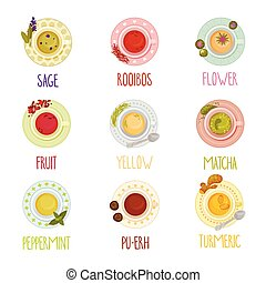 Different Tea Types Vector Set. Colorful Herbal Drinks ...