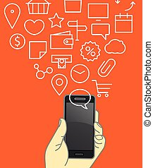 Different techno icons flows into the modern gadgets. Lineart vector illustration