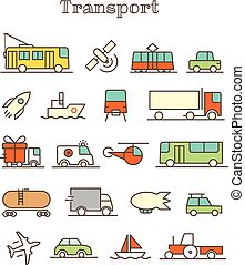 Different thin line color icons vector set. Transport