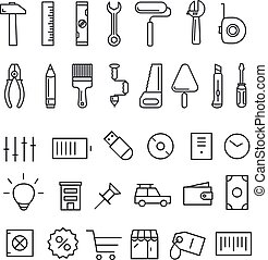 Different thin line icons collection
