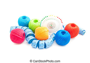 different thread and other items for needlework