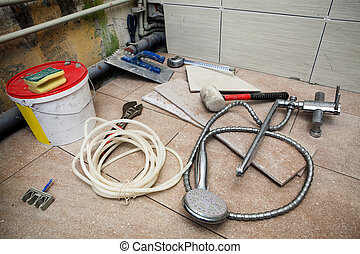 repair in the bathroom - different tools for repair in the ...