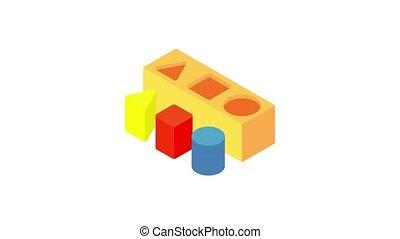 Different toy blocks icon animation