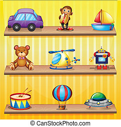 Different toys arranged at the wooden shelves