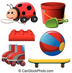 Different toys in red color