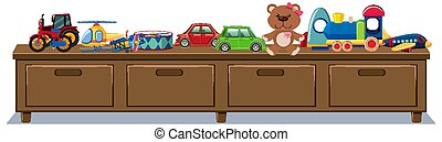 Different toys on wooden drawers