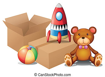 Different toys with two boxes