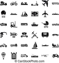 Different transport icons set, simple style