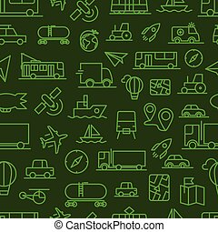 Different transport icons vector seamless background