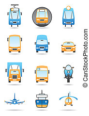 Different transportations icons set