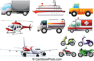 Illustration of the different transportations on a white background