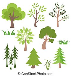 Different  tree and grass vector icon set.