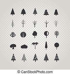 Different tree silhouette vector set isolated on transparent