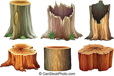 Different tree stumps - Illustration of the different tree...