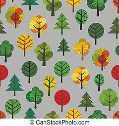 Different trees seamless background