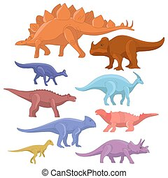 Different type of cartoon dinosaurs cute monster set. Dinosaur cartoon collection prehistoric character tyrannosaurus funny animal. Vector