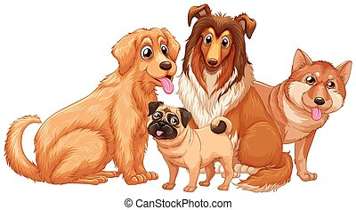Different type of cute puppy dogs illustration