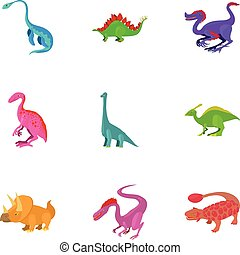 Different type of dinosaur icons set. Cartoon set of 9...