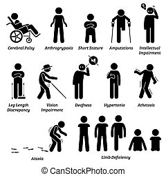 Different type of disabled and handicapped categories stick figures icons.