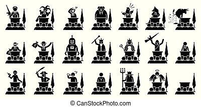 Different type of politician, president, prime minister, or ruler of a country giving speech.