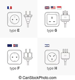 Different type power socket set, vector isolated icon illustration for different country plugs. Type EFGH.