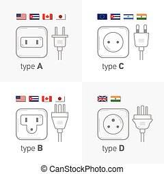 Different type power socket set, vector isolated icon illustration for different country plugs. Type ABCD.