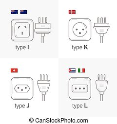 Different type power socket set, vector isolated icon illustration for different country plugs. Type IJKL.