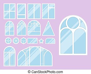 house windows types different types house windows elements flat style glass frames construction decoration apartment vector illustration type of element isolated frame domestic