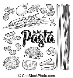 Different types macaroni and ITALIAN PASTA lettering. Vector...