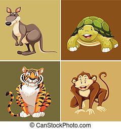 Different types of animals on brown background