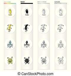 Different types of bacteria and viruses. Funny Viruses set collection icons in cartoon black monochrome outline style vector symbol stock illustration web.
