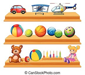 Different types of balls and toys on shelves illustration