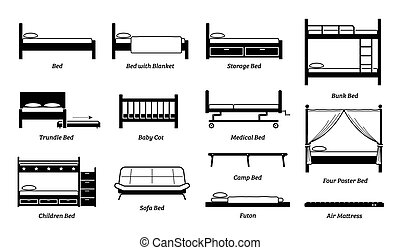 Vector icons of storage,  bunk, trundle, medical, baby, children, sofa, and four poster type of bed. Also include futon, air mattress, and camp bed.