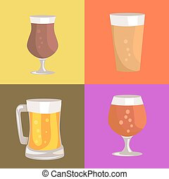 Different Types of Beer on Vector Illustration