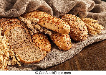 Different types of bread on the table