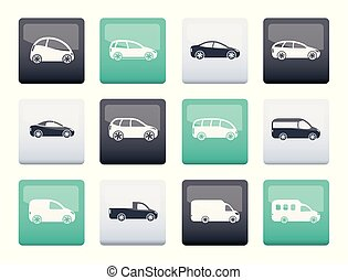 different types of cars icons over color background - Vector...