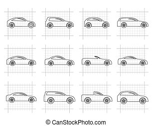 different types of cars icons