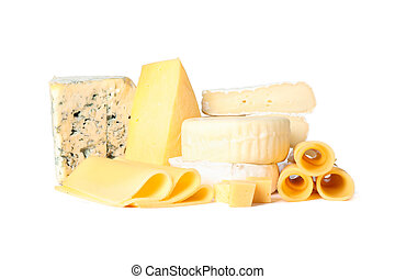 Different types of cheese isolated on white background