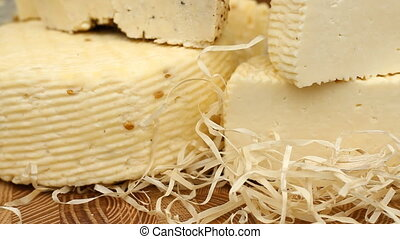 Different types of cheese on the table