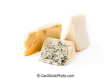 Different types of cheeses isolated on white background.