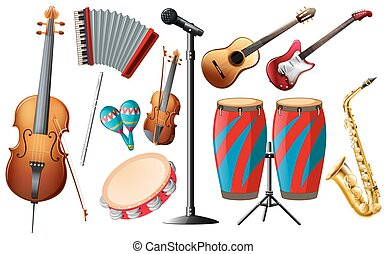 Different types of classical instruments illustration