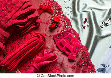 Different types of cloth, textiles for making bras -...
