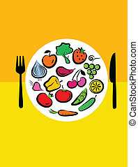 Different types of delicious fruits and vegetables combined in round frame