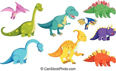 Different types of dinosaurs on white background