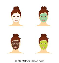 Different types of facial masks and skin care illustration set.