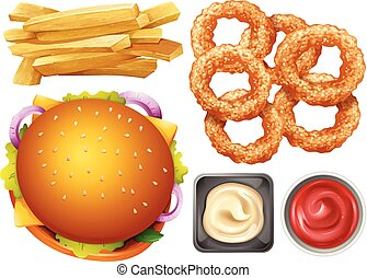 Different types of fastfood on white background