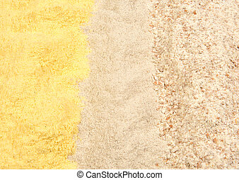 different types of flour, corn, buckwheat and whole wheat