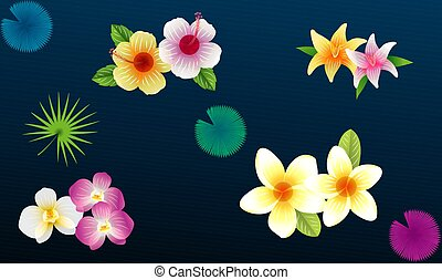 different types of flower collection on abstract background