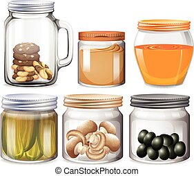 Different types of food in jars