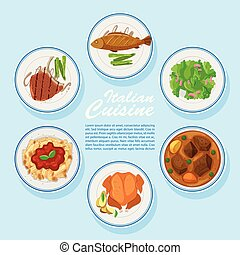 Different types of food on menu